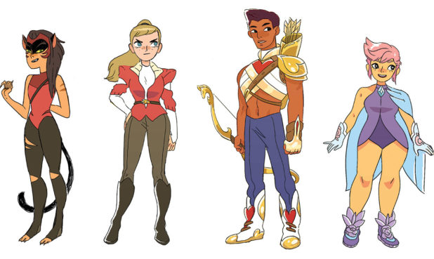 The She-Ra team wanted to include a variety of body shapes in the show. From left: Catra, Adora, Bow, & Glimmer
