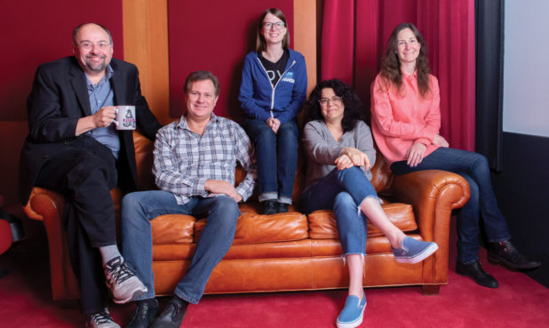 The Rocketeer's writing team at Wild Canary (from left): Brian Hohlfeld, Staff Writer; Greg Johnson, Story Editor; Kendall Haney, Staff Writer; Claudia Silver, Staff Writer; Nicole Dubuc, Showrunner. Not pictured: Kris Wellman, Script Coordinator.