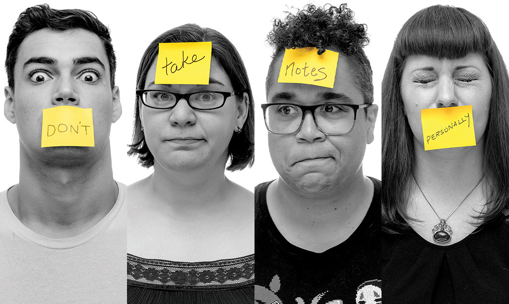 Four headshots in black-and-white with yellow post-its on their faces