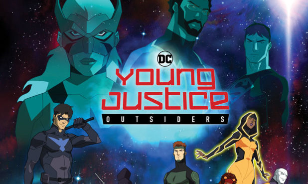 Young Justice type surrounded by superheroes