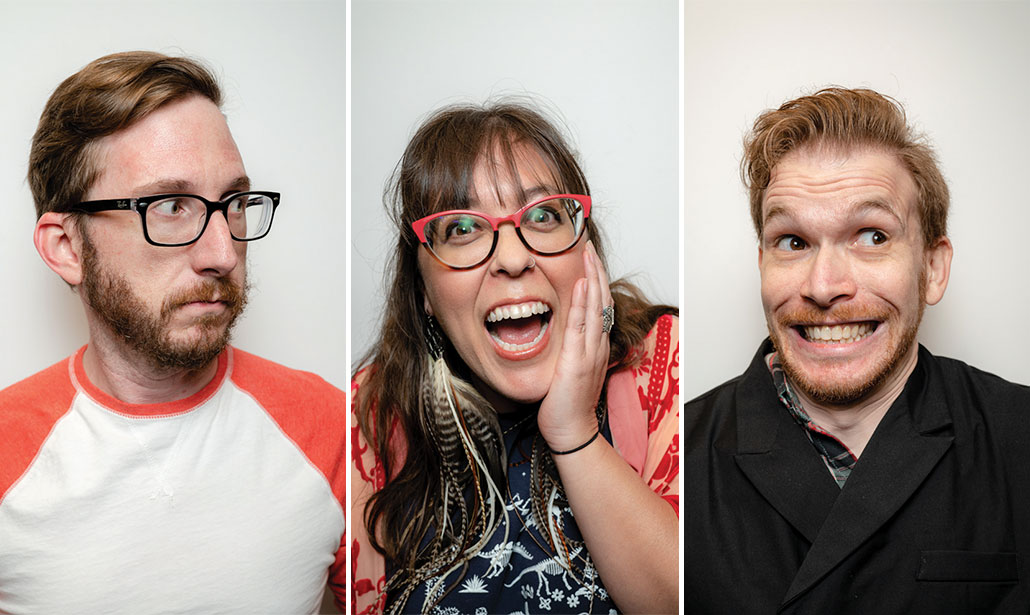 Portrait photos of three people making funny faces