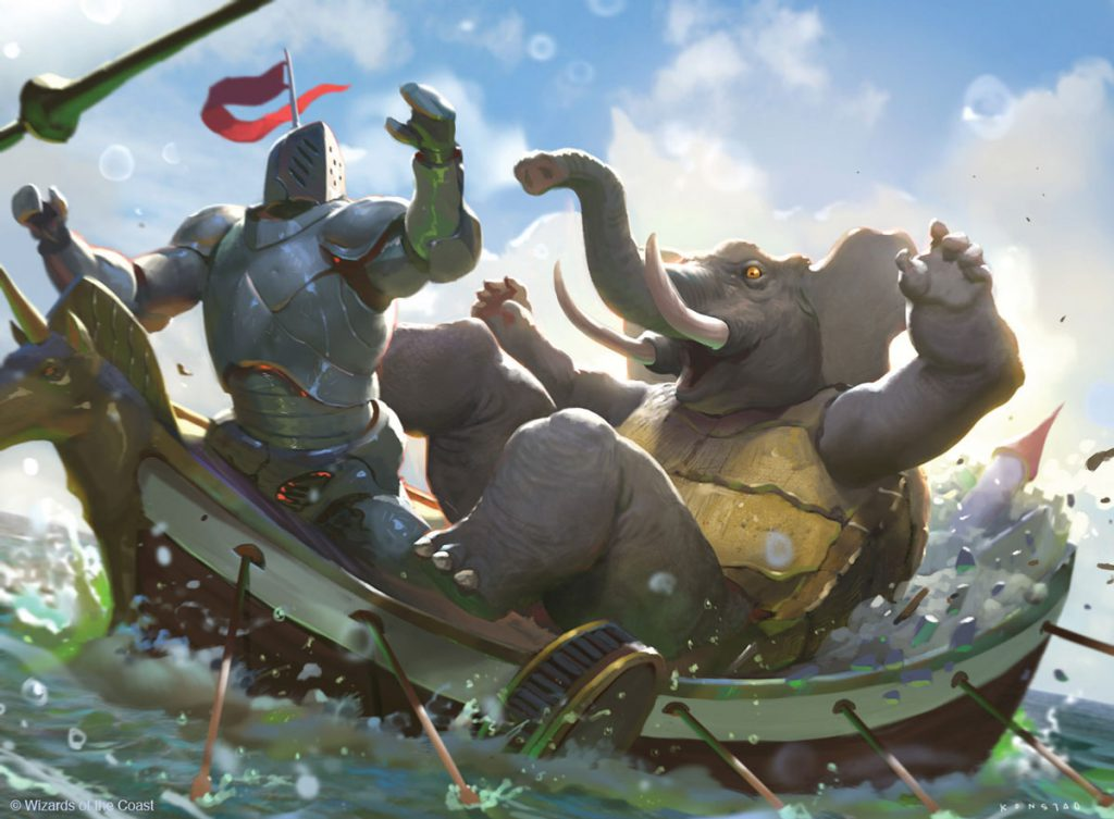 A knight fights an elephant on a viking boat