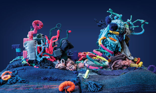 A 3D model of the reef, home to the Techno trolls, crafted by textile artist Natalie Miller.