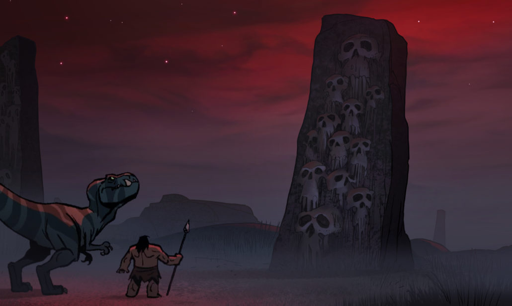 A still showing the caveman Spear and Tyrannosaurus rex Fang from Adult Swim's PRIMAL
