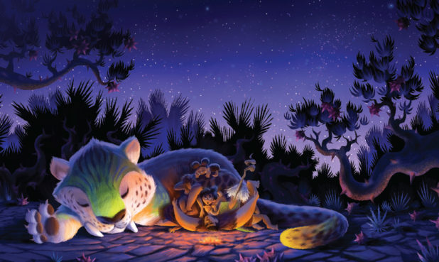 A visual development painting of the sleep pile by Production Designer Nate Wragg.