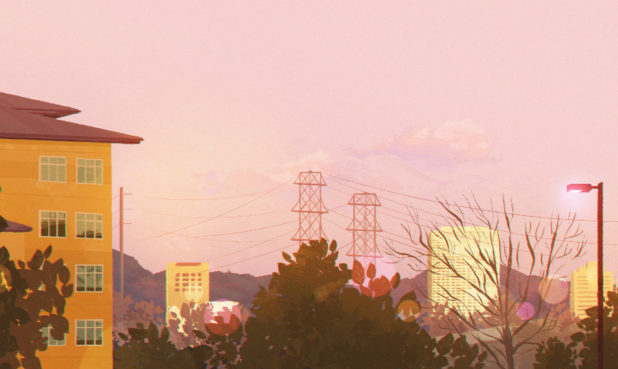 "ARTIST: Grace ""Grey"" Chen TITLE: Sunset on Flower MEDIUM: Digital SIZE: 12"" x 5.5"""