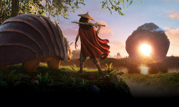 Raya and her sidekick Tuk Tuk travel on an epic journey through the fantastical land of Kumandra.