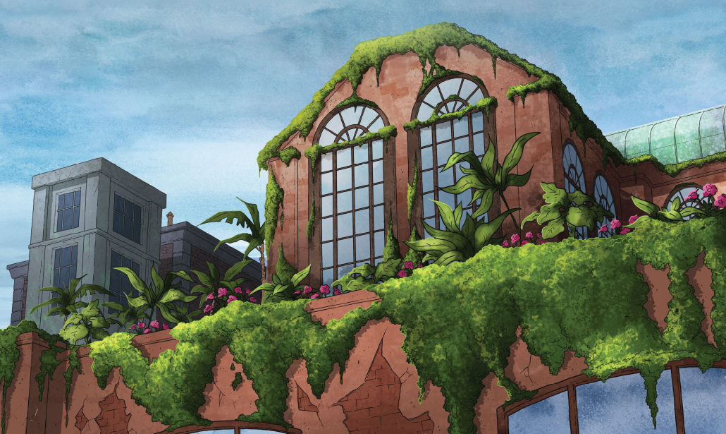 Greenhouse style inspired Poison Ivy's sophisticated city apartment.