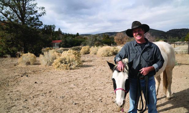 Hartle and his mare Bonnie at his Lake Hughes ranch.