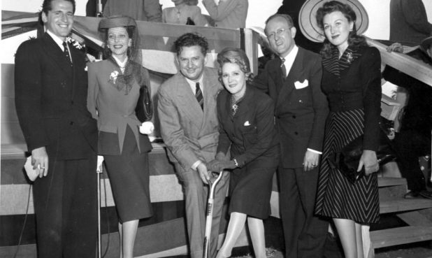 Jean Hersholt and Mary Pickford at the 1942 groundbreaking ceremony for the Motion Picture Country House, which would become the anchor of the Wasserman Campus in Woodland Hills.