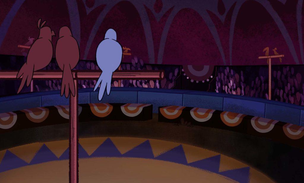Cartoon birds on perch