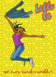 Cartoon of girl jumping