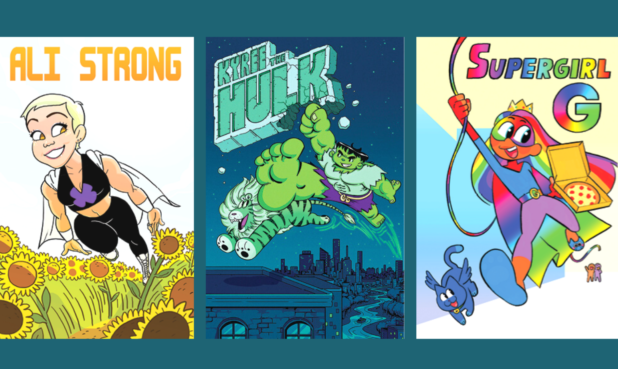 Each poster is credited as being created by the youth, whose names are withheld for privacy, and designed by the artist. Creators and artists (from left): Ali Strong by by A. (age 21) and Danny Ducker. Kyree the Hulk by K. (age 4) and Julia Srednicki. Supergirl G by G. (age 4) and Danny Ducker.