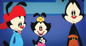 Three cartoon mice