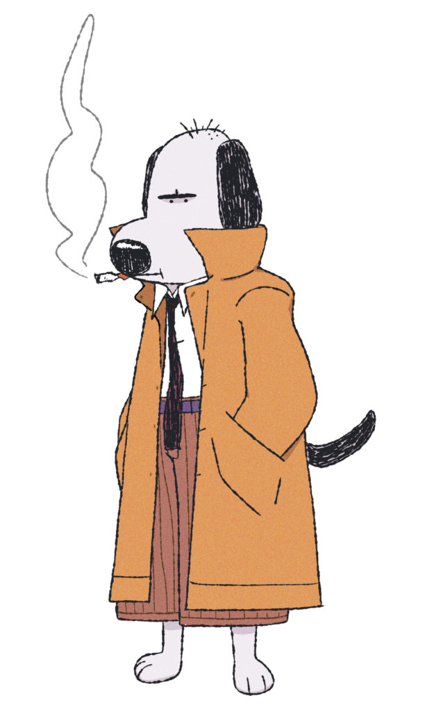 Cartoon dog smoking