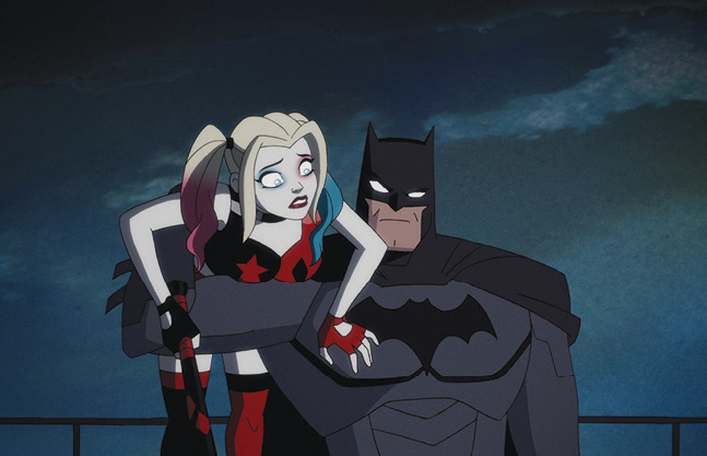 Animated Batman holding Harley Quinn