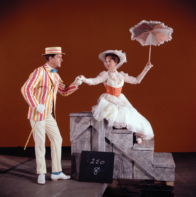 Bert and Mary Poppins with umbrella