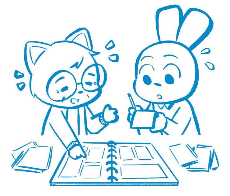 Cartoon cat and rabbit drawing