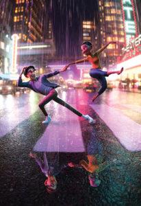 CG man and woman dancing