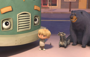 CG boy, raccoon and bear with garbage truck