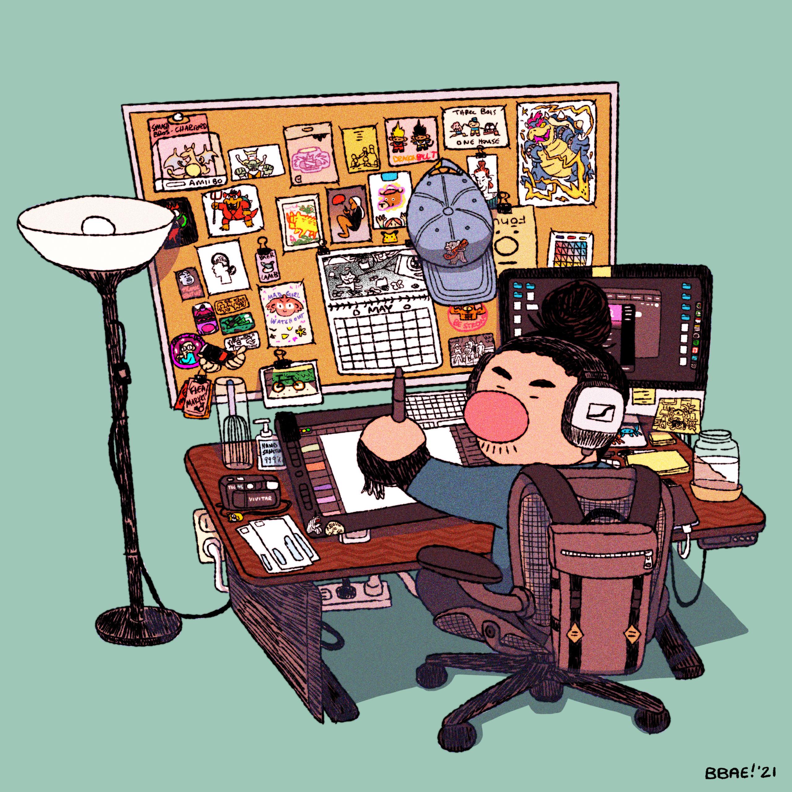 Cartoon character at desk
