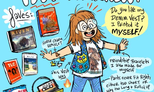 Cartoon girl in 1997