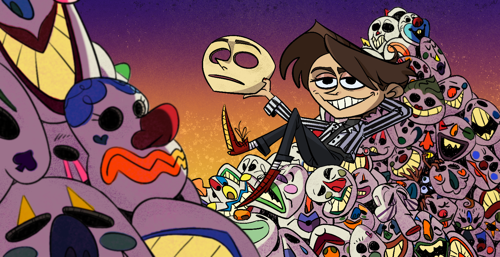 Cartoon boy sitting on skulls