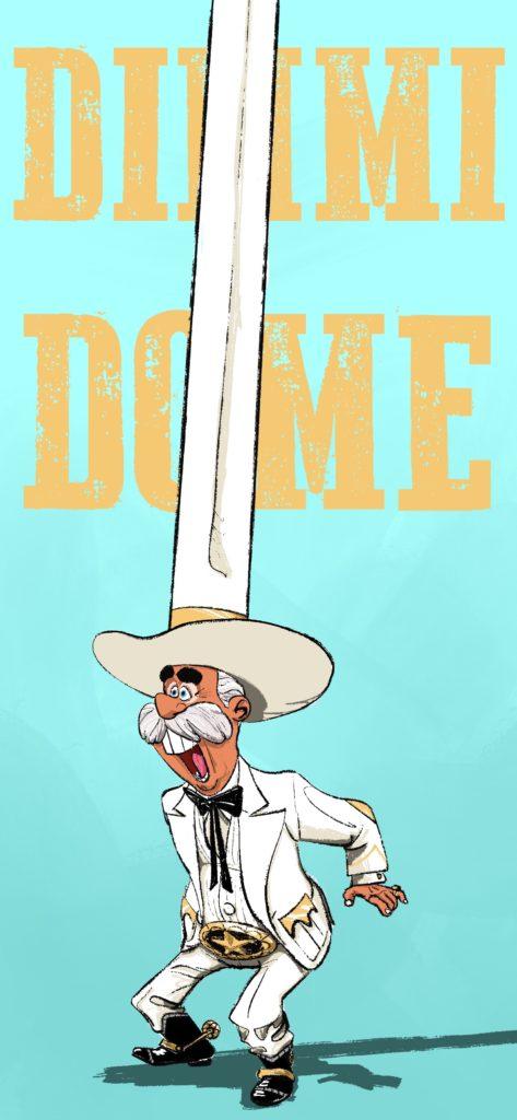 Cartoon man in tall white cowboy hat