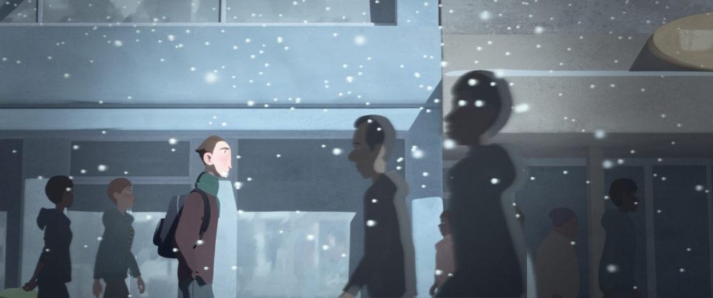 Cartoon people walking in snow