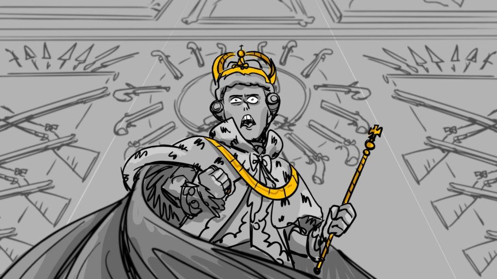 Comic black and white king with yellow crown