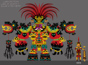 Colorful cartoon god