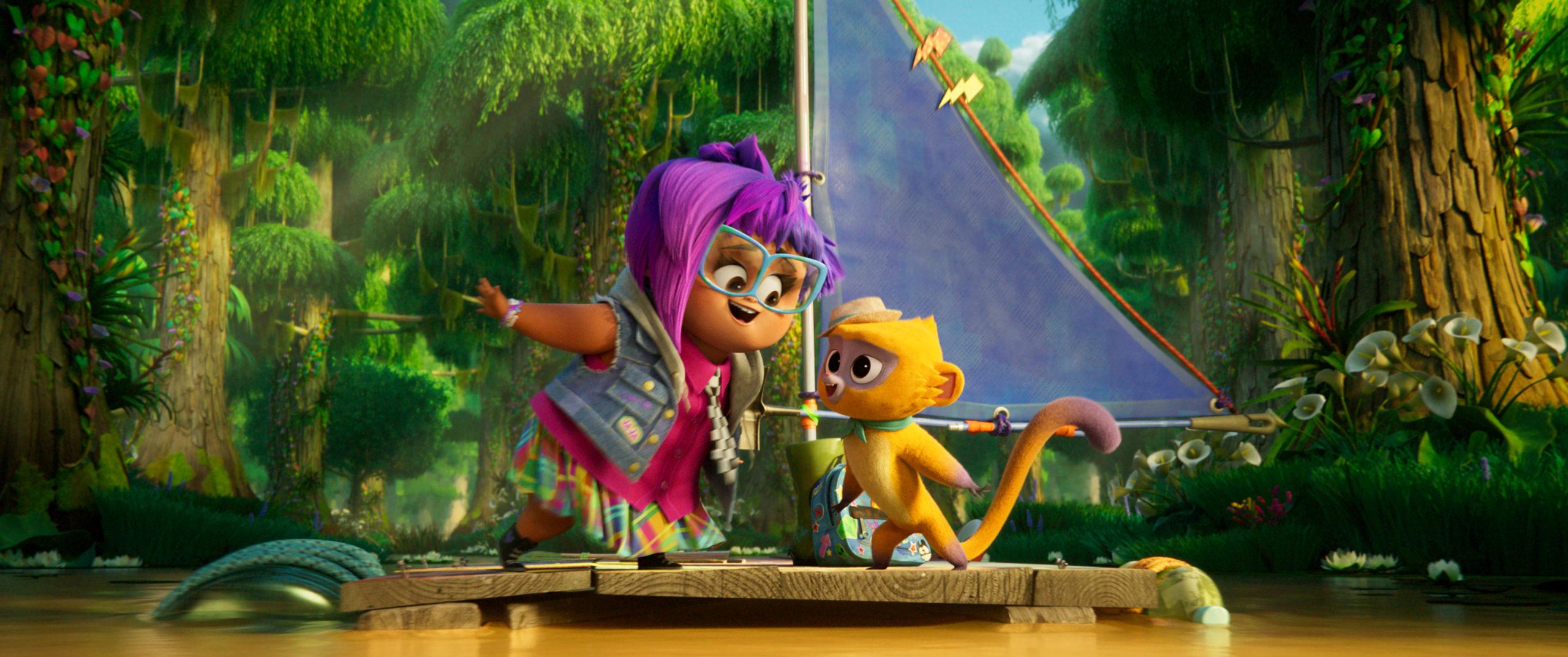 CG girl with purple hair and a kinkajou.
