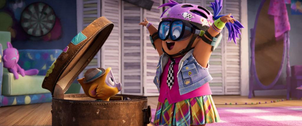 CG girl in helmet and kinkajou in suitcase