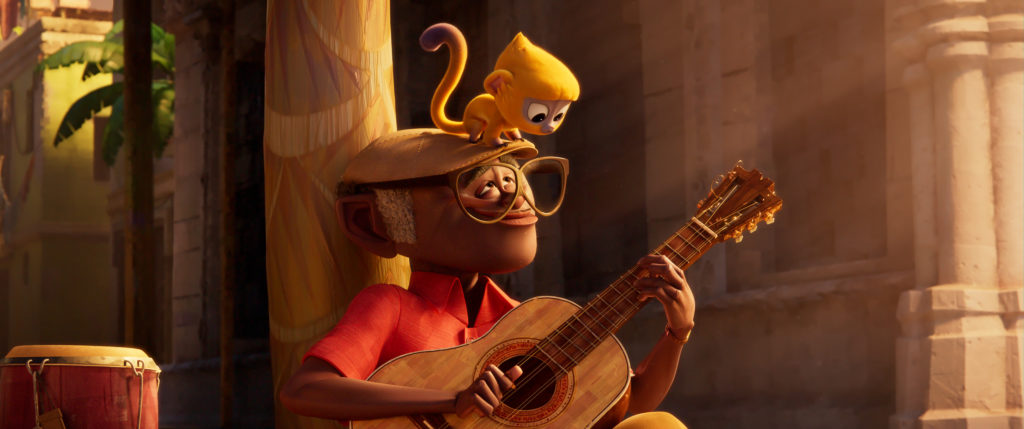CG man playing guitar and kinkajou