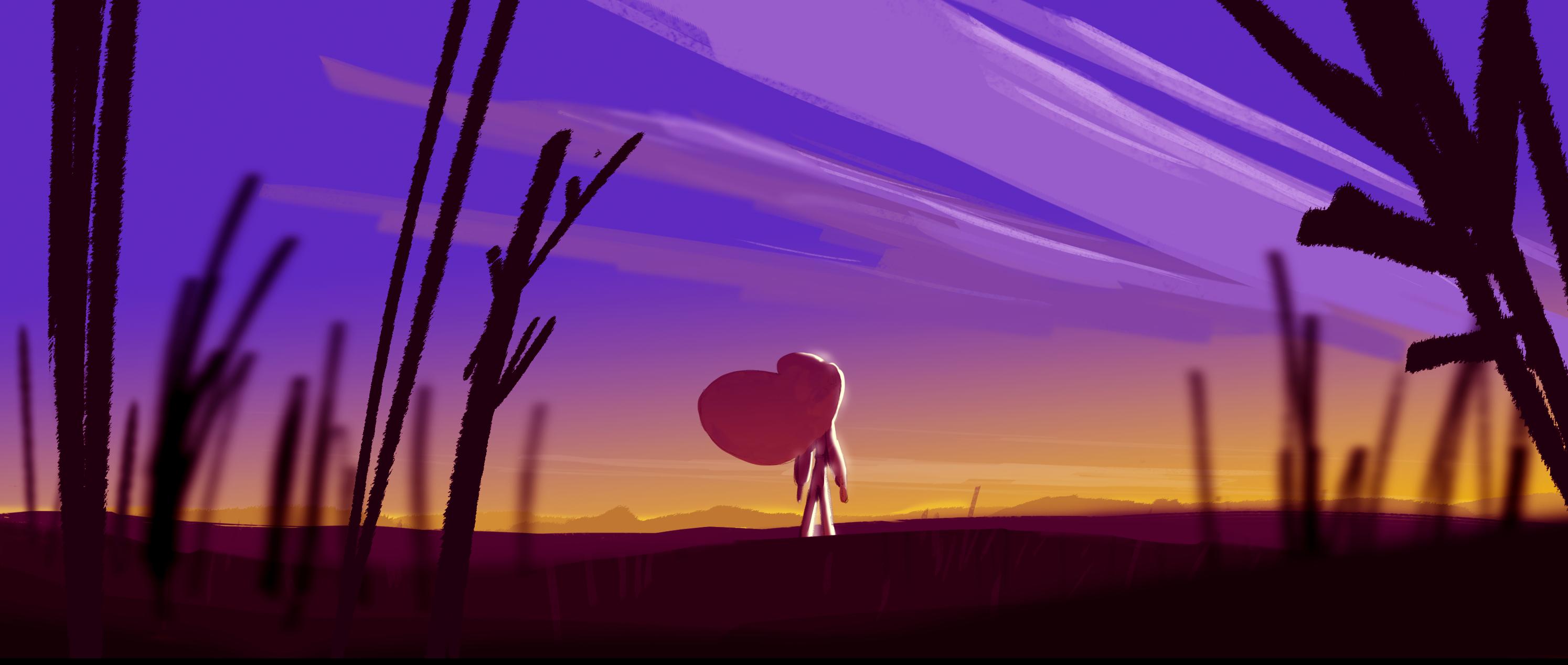 Cartoon girl sunset sunrise