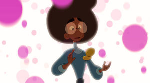 Cartoon woman with afro