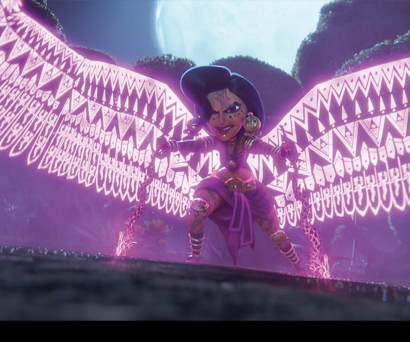 Cartoon chola with glowing wings