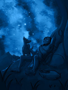 Blue cartoon dog and man
