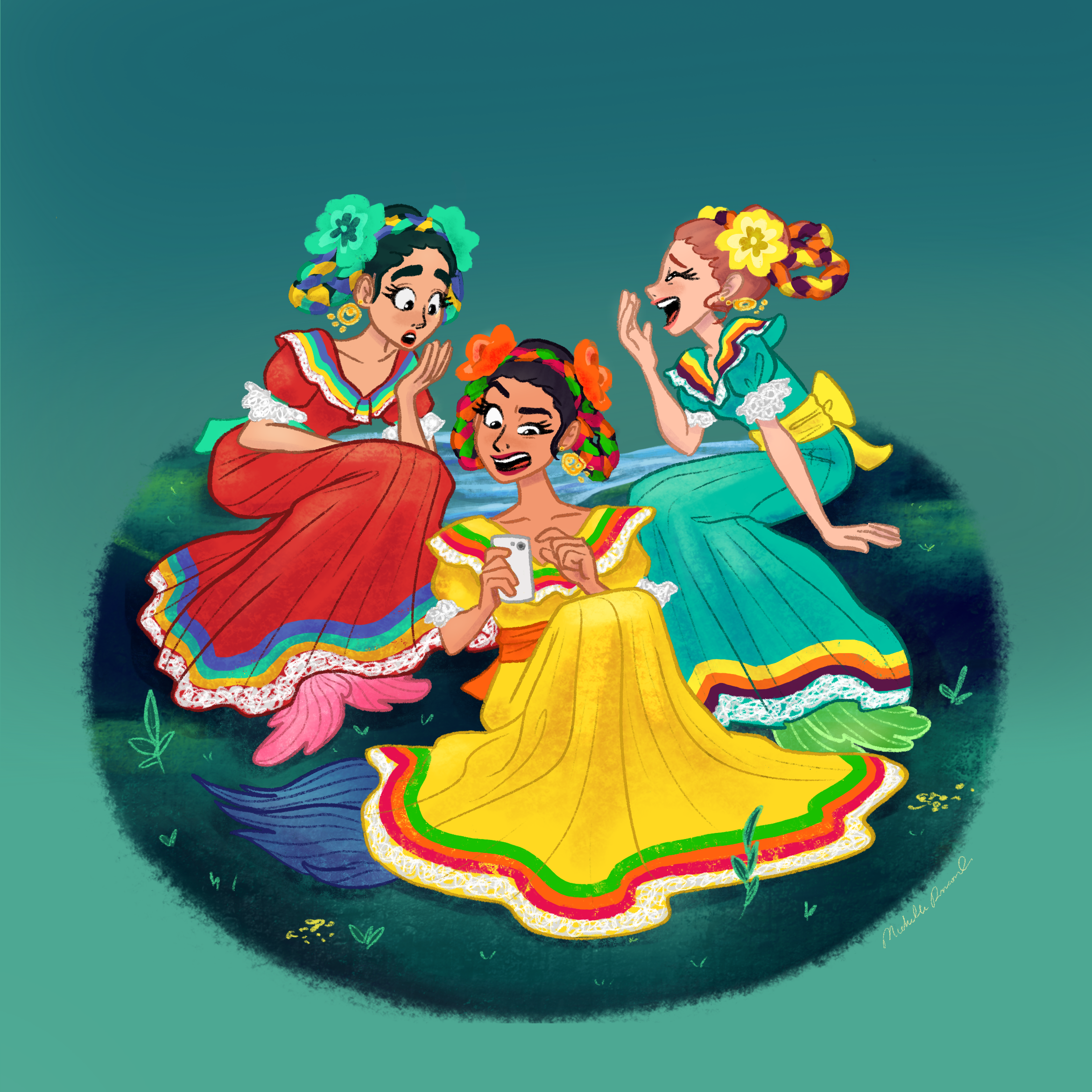 Three Mexican females in traditional dresses playing cards