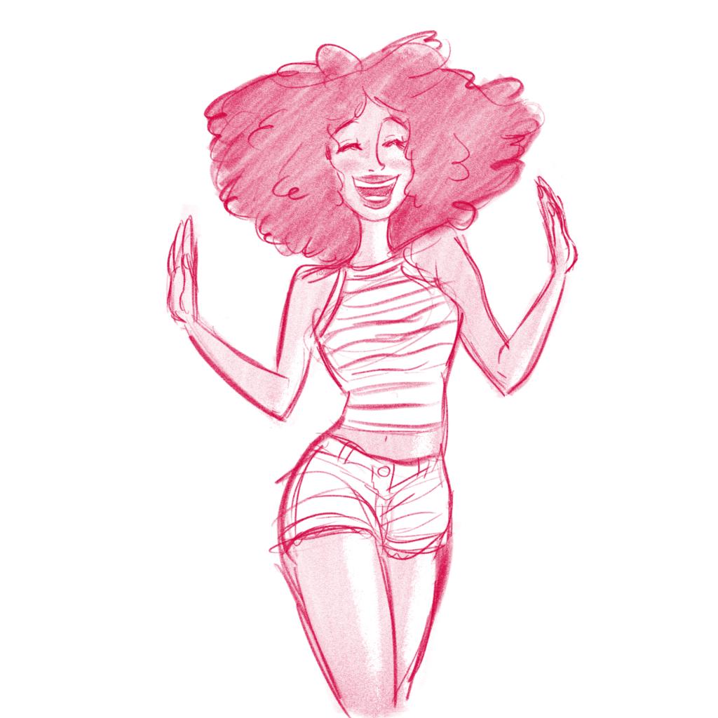 Pink cartoon girl dancing