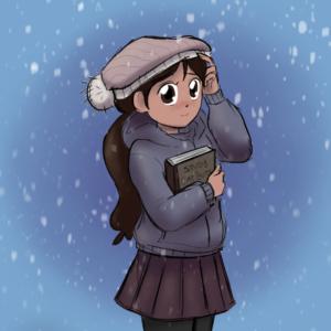 Cartoon girl with cap in snow