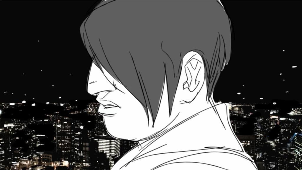 Black and white cartoon man