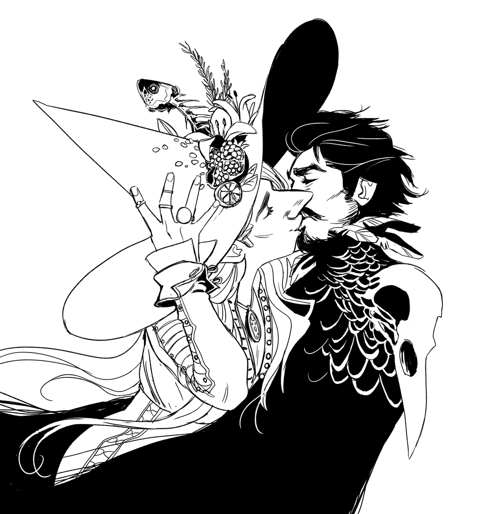 Black and white cartoon witch kissing man